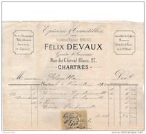 Facture De CHARTRES  Rue Du Cheval Blanc épicerie DEVAUX ( Anc Maison Bruno ) En 1884 - Francia