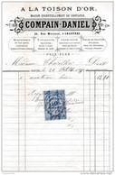 Facture De CHARTRES  Rue Marceau Bonneterie à La Toison D'or COMPAIN DANIEL En 1880 - Francia