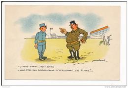 Carte Humoristique Militaire  Dessin    Illustrateur  Jean Cheval  ( Recto Verso ) - Cheval