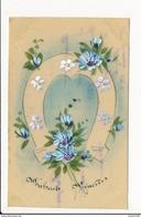 CARTE CELLULOID  Avec Dessin  ( Peinte )  Fleurs Fer à Cheval   ( Recto Verso ) - Postcards