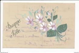 CARTE CELLULOID  Avec Dessin  ( Peinte )  Fleurs   ( Recto Verso ) - Autres