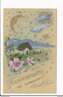 CARTE CELLULOID  Avec Dessin  ( Peinte )  Paysage  ( Recto Verso ) - Postcards