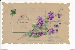 CARTE CELLULOID  Avec Dessin  ( Peinte )  Fleurs Et écrite   ( Recto Verso ) - Autres