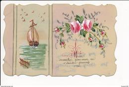 CARTE CELLULOID  Avec Dessin  ( Peinte )  Fleurs Bateau Et écrite   ( Recto Verso ) - Autres