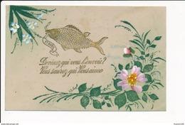 CARTE CELLULOID  Avec Dessin  ( Peinte )  Fleurs Poisson   ( Recto Verso ) - Postcards