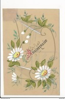 CARTE CELLULOID  Avec Dessin  ( Peinte )  Fleurs Anniversaire  Et écrite   ( Recto Verso ) - Autres