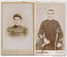 Lot De 2 CDV Photo Photographe Paul LAGRANGE à BOURGES Militaire épée Sabre 37 E Régiment D' Artillerie ( Recto Verso ) - Old (before 1900)