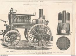 Ancienne Feuille / Planche D' Une Pompe à Incendie Système De Merryweather Et Sons Long Acre Long ( Pompier ) - Maschinen