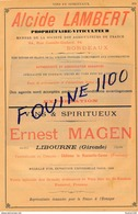 Vins Spiritueux Ernest Magen LIBOURNE Cognac Rhum Alcide Lambert BORDEAUX Maison Trasforest / Fattoria Ignazio Florio - Pubblicitari