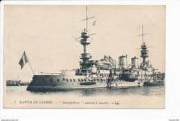 Carte  Marine De Guerre  Cuirassé  Jauréguiberry ( Navire De Guerre ) ( Recto Verso ) - Oorlog