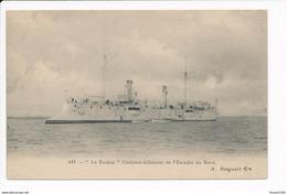 Carte Du Navire De Guerre Le Forbin  Croiseur éclaireur De L' Escadre Du Nord  ( A. Bougault )( Recto Verso ) - Guerra