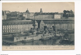 Carte Du Port Militaire De  Brest  Le Cuirassé Charlemagne   ( Navire De Guerre ) - Oorlog