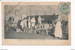 Carte Le Travail Du Vin De Champagne ( Reims ) Les Opérations Du Tirage Mis En Tas à La Cave ( Collection Weinmann ) - Reims