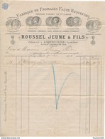 Facture Année 1902 Envoyée à Cusset Vichy Fabrique De Fromages Façon Roquefort ROUSSEL JEUNE à LAQUEUILLE Puy De Dôme 63 - Marcofilie (Brieven)