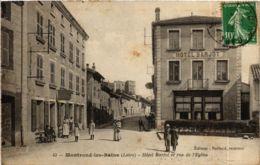 CPA Montrond-les-Bains - Hotel Barjot Et Rue De L'Eglise FRANCE (916226) - Francia