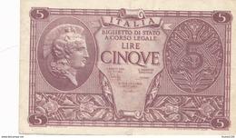 Billet  De Banque  Italia  5 Lire - [ 1] …-1946 : Kingdom