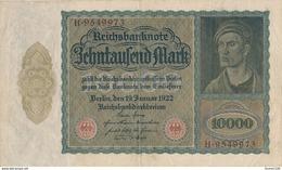 Billet De Banque  Germany ALLEMAGNE 10000 MARK 1922 - [ 3] 1918-1933: Weimarrepubliek