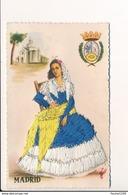 Carte Brodée En Tissu Tissus  Madrid ( Format 9 X 14 Cm )( Recto Verso ) - Brodées