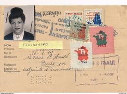 TOURISME TRAVAIL CARTE DE MEMBRE ACTIF  ( Voir Timbre Vignette ) Année 1951 - Erinnophilie