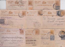 BRITISH INDIA RAJ POSTAGE HOLKAR STATE STAMP POST CARD ENTIER POSTAL INDE LOT DE 9 CARTES POSTALES CIRCULEES TIMBRES - Holkar