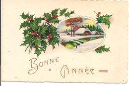 L60b102 - Bonne Année - Dessin Village Sous La Neige Et Houx - BW  N°373 - Nieuwjaar
