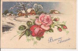 L60b104 - Bonne Année - Dessin Village Sous La Neige Et Roses, Paillettes - N°5203 - Nieuwjaar