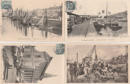 4 CPA:BOULOGNE SUR MER (62) MARCHÉ ÉGLISE SAINT NICOLAS,QUAI DES HALLES,PÊCHEURS DÉBARQUEMENT DU POISSON,DÉBARQUADÈRE - Boulogne Sur Mer