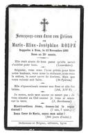 MARIE ELISE JOSEPHINE ROUPE AVIS DE DECES 1873 1893 - Décès