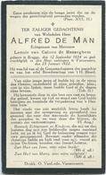 Doodsprentje: DE MAN Alfred: Geboren Brugge 1934, + Varsenare, 23 Januari 1922. Echt. Van CALOEN De BASSEGHEM Leonie - Religion & Esotérisme