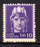 ITALIA REGNO ITALY KINGDOM 1945 1946 LUOGOTENENZA REGENCY IMPERIALE SENZA FILIGRANA UNWATERMARK LIRE 10 MNH - 5. 1944-46 Lieutenance & Humbert II: