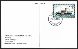 1978 - FALKLAND ISLANDS - Card + SG 334A [Fitzroy] + PORT STANLEY - Falkland