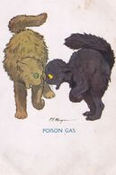 Cat Cats Poison Gas Quaint Series Rare Comic Postcard - Katten