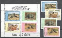 C636 1996 POSTES LAO GREENPEACE FAUNA TURTLES 1KB+1SET MNH - Tartarughe