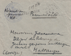 INDRE ENV 1946 CHATEAUROUX LETTRE RECOMMANDEE PROVISOIRE FRANCHISE VERSO = SERVICE SOCIAL / CHATEAUROUX (INDRE) / PALAIS - Marcophilie (Lettres)