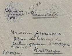 INDRE ENV 1946 CHATEAUROUX LETTRE RECOMMANDEE PROVISOIRE FRANCHISE VERSO = SERVICE SOCIAL / CHATEAUROUX (INDRE) / PALAIS - Poststempel (Briefe)
