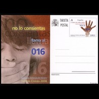 España Spain Entero Postal  ( Tarjeta ) 177 2008 Valores Cívicos 016 Contra La - Spagna
