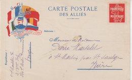 FRANCE : CP DES ALLIES . EN FM . LE DROIT VAINCRA LA FORCE  . - Marcophilie (Lettres)