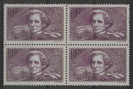 1938 - YVERT N° 382 ** MNH BLOC DE 4 - COTE = 56 EUR. - BERLIOZ - Frankreich