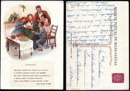 1954 Christmas Portugal Used Stationery. Inteiro/Entier Postal Noel. Boas Festas Natal #176. Family Tradition. - Postal Stationery