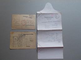 Marcophilie - Lettre Enveloppe Obliteration - Lot 3 Documents Prisonniers Guerre WW1 WW2 (2573) - Marcophilie (Lettres)