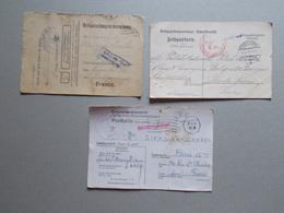 Marcophilie - Lettre Enveloppe Obliteration - Lot 3 Documents Prisonniers Guerre WW1 WW2 (2574) - Guerre De 1914-18