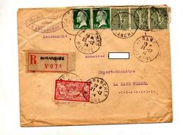 Lettre Recommandée Avranches Sur Pasteur Semeuse  Merson - Manual Postmarks