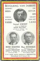 Doodsprentje: D'HONDT Gustaaf; DESOPPER Henri; HENNEMAN Maur. Jabbeke + Issenbuttel 23 Januari 1941 Oorlogsslachtoffers - Religion & Esotericism