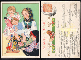 1942 Christmas Portugal Used Stationery. Inteiro/Entier Postal Noel. Boas Festas Natal #40. Children Toys. - Postal Stationery