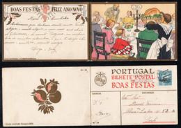 1939 Christmas Portugal Used Stationery. Inteiro/Entier Postal Noel. Boas Festas Natal #24. Wealthy Christmas Meal. - Postal Stationery