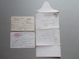 Marcophilie - Lettre Enveloppe Obliteration - Lot 3 Documents Prisonniers Guerre WW1 WW2 (2577) - Guerre De 1914-18