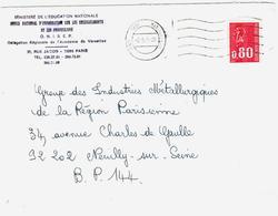 PARIS   GARE  MONTPARNASSE    Lettre 80c  Bequet Yv 1816 Ob 2 5 1975 Mécanique 2 Cercles Modèle Particulier - Marcofilie (Brieven)