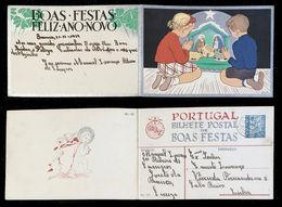 1939 Christmas Portugal Used Stationery. Inteiro/Entier Postal. Noel. Boas Festas Natal #25. Presépio. - Postal Stationery
