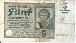BILLET DE 5 RENTENMARK - BANKNOTE FUNFRENTENMARK - [ 3] 1918-1933 : Repubblica  Di Weimar
