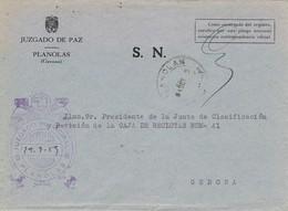 34778. Carta S.N. Franquicia Juzgado De Paz PLANOLAS (Gerona) 1959. Fechador Planolas - 1931-Hoy: 2ª República - ... Juan Carlos I
